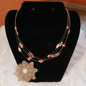 Peach/Coral and Gold Toned Necklace